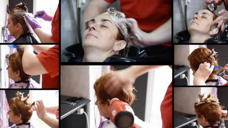 curling hair : Montage: A hairdresser doing hair styling to a woman: coloring, washing, rinsing, cutting, combing, drying and curling a lock. Slow motion.