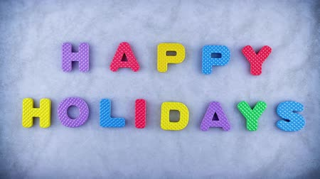 шрифт : Words Happy Holidays appearing word by word with the blue texture for background. Different color letters.