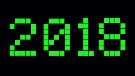 numerical code : New Year 2018. Green digital numbers on the black background. Countdown to holidays. Stock Footage