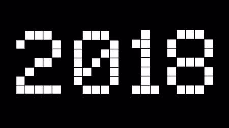 kombinasyon : New Year 2018. White digital numbers on the black background. Countdown to holidays.
