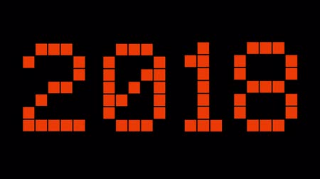 numerical code : New Year 2018. Red digital numbers on the black background. Countdown to holidays.