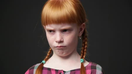 sulk : Close up sad ginger girl