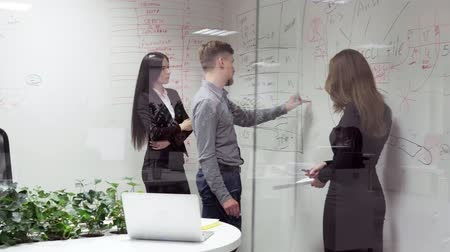 magyarázza : Business man writes on a white board and explains something to employees in the office, steadicam shot through glass