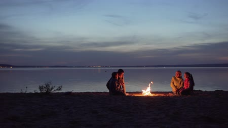 Family of travelers with kids rest around night campfire by sea