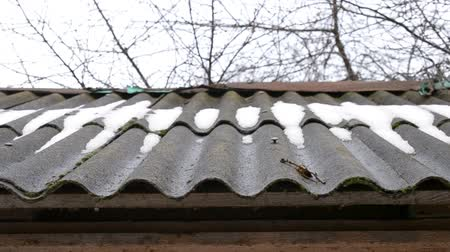 çevre koruma : Thaw. Water from melting snow and ice drips slowly from corrugated fibre cement and asbestos roof falling down in droplets in an overcast weather in spring