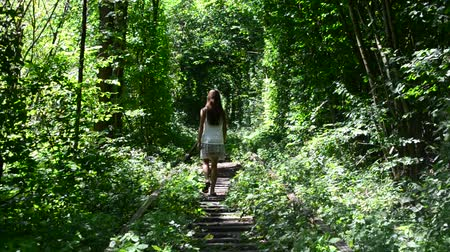 crosstie : Young slim teenager girl walks away from camera in the Tunnel of Love near Klevan, Ukraine, in summer. This is a railway with green arches of vibrant lush green trees and is favorite place for people