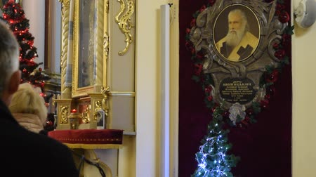 юра : LVIV, UKRAINE - FEBRUARY 6, 2016: Church office in St. George Cathedral. Portrait of Metropolitan Archbishop Andrey Sheptytsky on church wall