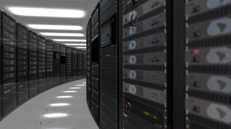 Animation of rack servers in data center 4K quad HD ultra resolution