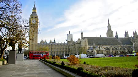 london england : London trafic around Westminister square, Big Ben and House of Parlament in London.A landmark of London