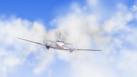 авиация : animation of propelier airplane flying through the clouds toward camera. Sound included