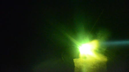 oxyacetylene : Welder view through special mask that darkens automatically. Using torch to make sparks during manufacture of metal equipment. Stock Footage