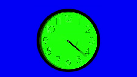 zegar : Wall Clock, Time Ticking Faster, Twelve hour time lapse, one second for each hour. GREEN KEY clock and BLUE KEY background
