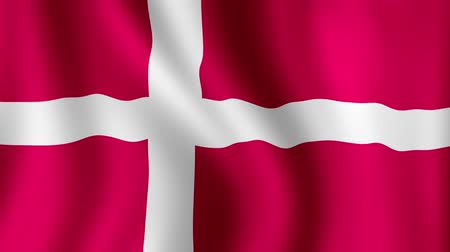 dánia : Danish Flag - looping, waving, paning, A beautiful finish looping flag animation of Denmark. A fully digital rendering using the official flag design in a waving, full frame composition. Design with multiple effects to produce a natural looping wave motio