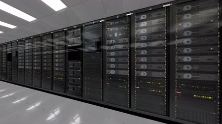 serwerownia : Dolly shoot of row of network servers datacenter room 4K quad HD ultra resolution
