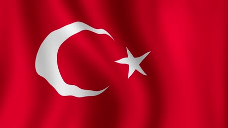 Turkish Flag - looping, waving, paning, A beautiful finish looping flag animation of Turkey. A fully digital rendering using the official flag design in a waving, full frame composition. Design with multiple effects to produce a natural looping wave motio