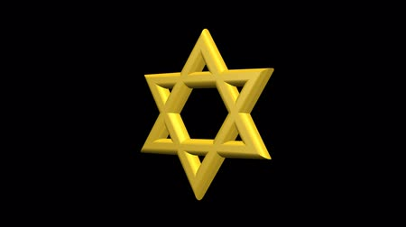 zsidó : star of David of Israel spinning on its axis on a black background, 3d animation High-definition, HD 1920 x 1080. Jewish symbol Stock mozgókép