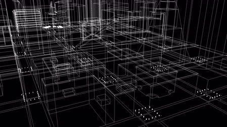 vonalvezetés : 4K Fly through schematic architectural blueprints rotating loop background LOOP