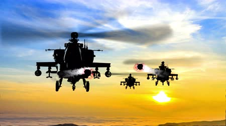 copter : 4K missile attack at sunset by Apache Ah-64 Gunship Helicopters