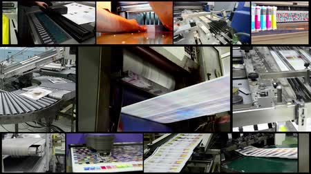 impressão digital : 4k amazing print industry montage. Video wall background of printing plant production process.