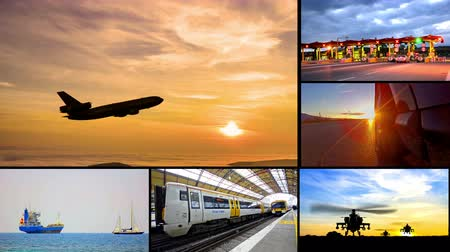 lojistik : 4K transportation montage business trading video wall background