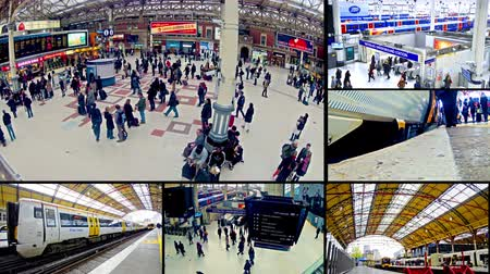 haast : 4K London Transport en pendelaars op spitsuur videomuur.  Stockvideo