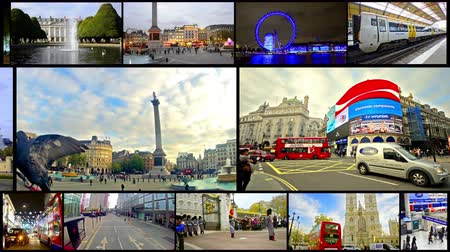 Лондон : 4k London montage collection postcard. Landmarks scenes of London UK video wall background