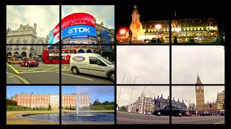 london england : 4k London montage collection postcard. Landmarks scenes of London UK video wall background