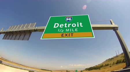 city limits : 4K Driving on Highwayinterstate,  Exit sign of the City Of Detroit, Michigan