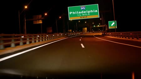philadelphie : Driving on Highwayinterstate at night,  Exit sign of the City Of Philadelphia, Pennsylvania