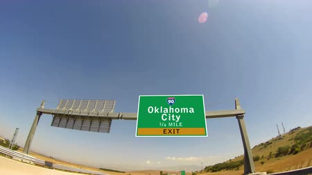 city limits : 4K Driving on Highwayinterstate,  Exit sign of the Oklahoma Ciry, Oklahoma
