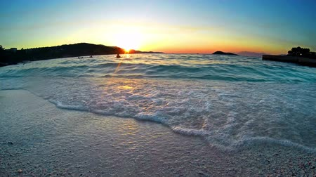 beach panorama : Amazing Sunset At Sea. HD LOOP