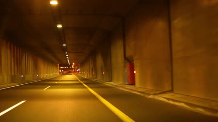 high speed road : car fast in tunnel with.