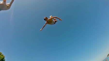kayalık : High Water Jumping from Springboard Backflip and diving, Slow Motion