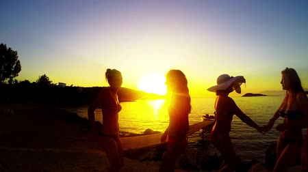 закат : Group of Five Teenage Girls Dance and Celebrate On The Beach At Sunset, SLOW MOTION
