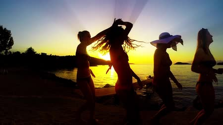 break dance : Group of Five Teenage Girls Dance and Celebrate On The Beach At Sunset, SLOW MOTION