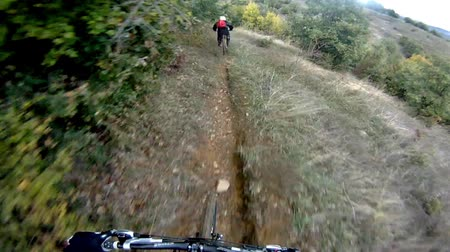 lesiklás : Mountain bikers POV racing through the forest on a cross country trail. Extreme downhill