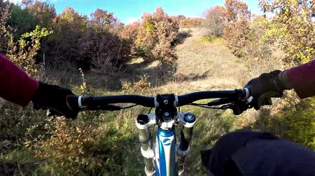 kaland : Extreme sport race downhill. Cyclist riding mountain bike in the woods POV