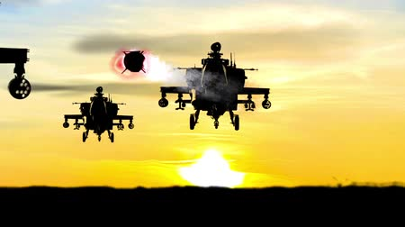time machine : Helicopters Missile attack at sunset horizon