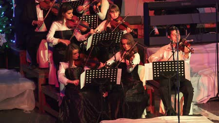 симфония : Violin orchestra musicians at new year concert