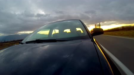 melez : 4K Driving a sport car windshield reflection. Mounted camera front view. Country road UHD Fast Speed  TimeLapse. HD.