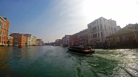 İtalyan : 4K ship is passing on Grande canel ride with vaporetto water bus in Venice Italy. UHD steadycam stock video Stok Video