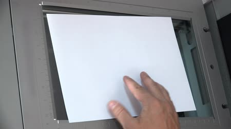faks : 4k photocopier light copy the document top view, UHD stock footage