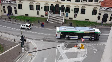 quad hd : 4K Aerial view of bus public transportation in Mestre. UHD steadycam stock video