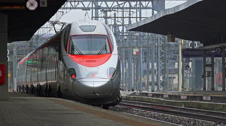 podzemní : 4k Modern Fast Train Departure from Station Platform. UHD stock footage