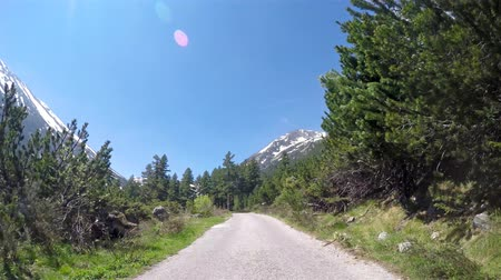 drive : Rural road drive POV on Alps mountain peak, with summer snow glacier. UHD 4K stock footage