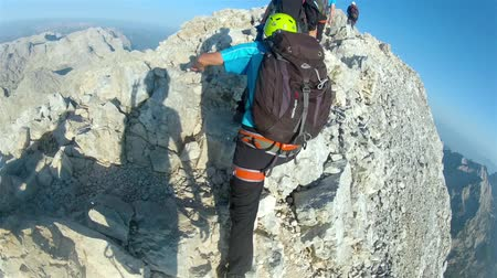 горный хребет : Mountaineer pov to expedition climbing to Triglav summit on Julian Alps mountain range