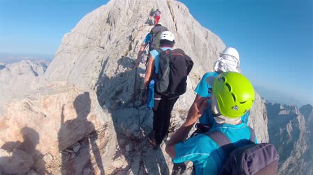 peak : Mountaineer pov to expedition climbing to Triglav summit on Julian Alps mountain range