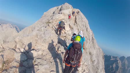 wspinaczka górska : Mountaineer pov to expedition climbing to Triglav summit on Julian Alps mountain range