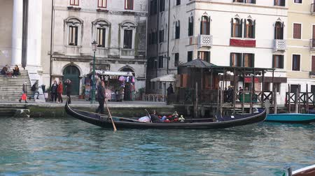 quad hd : Venice, Canal Grande tourist gondola ride near San Simeone Piccolo church San Simeone e Giuda