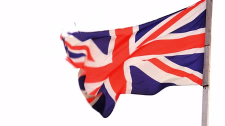 wielka brytania : UK flag waving with alpha matte at the second half of the footage